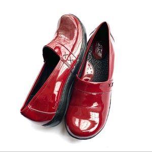 B.O.C Slip On Clog Loafer Nurse Shoes Red Patent 9